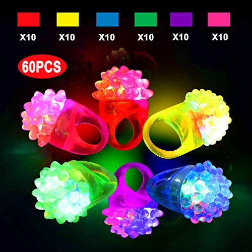 Sunmall Flashy Bumpy Rings, 60pcs Colorful Flashling LED Bumpy Rubber Rings Light Up Glow Party Favor Rings for Party, Birthday, Gifts, Dances, Costumes -
