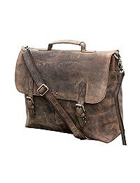 "Handolederco 16"" Vintage Rustic Buffalo Hide Leather Messenger Satchel Laptop Briefcase Shoulder Bag for Men's and Women"
