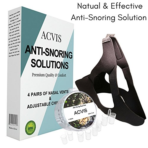 ACVIS Anti Snoring Devices Premium Kit – Stop Snoring 4 Set Nose Vents with Travel Case and Comfortable Snore Adjustable Chin Strap – Safe Snore Aid Solution for Natural Relief and Restful Sleep