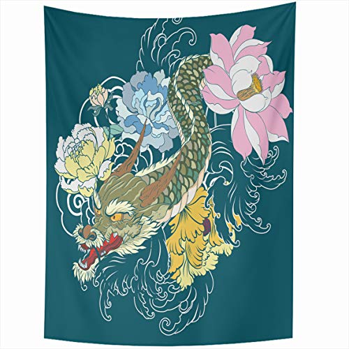 Ahawoso Tapestry 60x80 Inches Dragon Tattoo Lotus Chrysanthemum Peony Cherry Flower Wall Hanging Home Decor Tapestries for Living Room Bedroom Dorm -