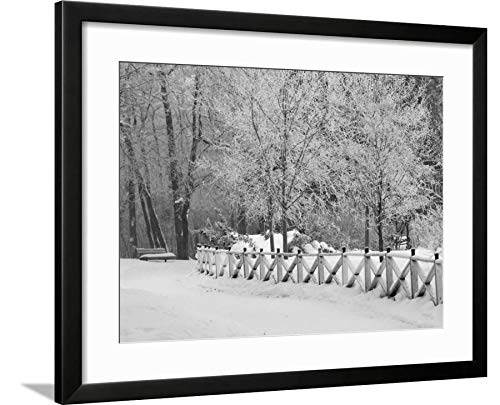 ArtEdge Winnipeg Manitoba, Canada Winter Scenes Keith Levit, Black Framed Matted Wall Art Print, 18x24 in (Winter Manitoba Canada Scenes Winnipeg)