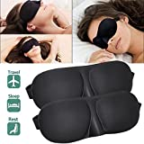 TraderPlus 2pcs Sleeping Eye Mask Eye Shade Blindfold Shade Cover for Travel Sleep Black