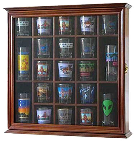 (Shot Glass Display Case Wall Cabinet Shadow Box, with glass door, Walnut Finish)