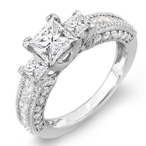 White Gold Princess & Round Diamond Ladies Semi Mount 3 Stone Engagement Bridal Ring (No Center Stone) (Size 8) (Semi Mount 3 Stone Ring)