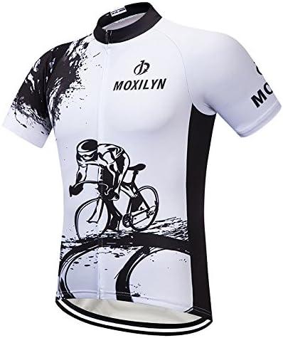 Camisa De Ciclismo De Manga Corta Jersey De Bicicleta De Manga Corta De Los Hombres Bolsillos De Cremallera Superior De MTB Reflexivo,White,S: Amazon.es: Deportes y aire libre