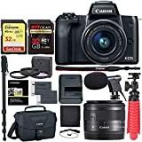 Canon EOS M50 15-45mm f/3.5-6.3 is STM Mirrorless Digital Camera, 64gb Memory Card, Camera Bag & Accessory Bundle