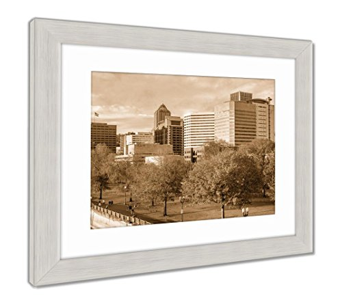 Skyscrapers Behind Autumn Park, Wall Art Home Decoration, Sepia, 34x40 (frame size), Silver Frame, AG6504469 (Skyscrapers Behind Trees)