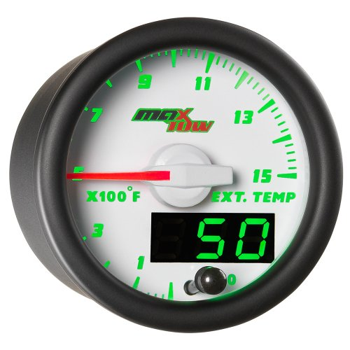 MaxTow Double Vision 1500 F Pyrometer Exhaust Gas Temperature EGT Gauge Kit - Includes Type K Probe - White Gauge Face - Green LED Dial - Analog & Digital Readouts - For Diesel Trucks - 2-1/16 52mm