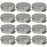 12 Pack of Mighty Gadget (R) Screw Top Round Steel Tin Cans (2 oz)