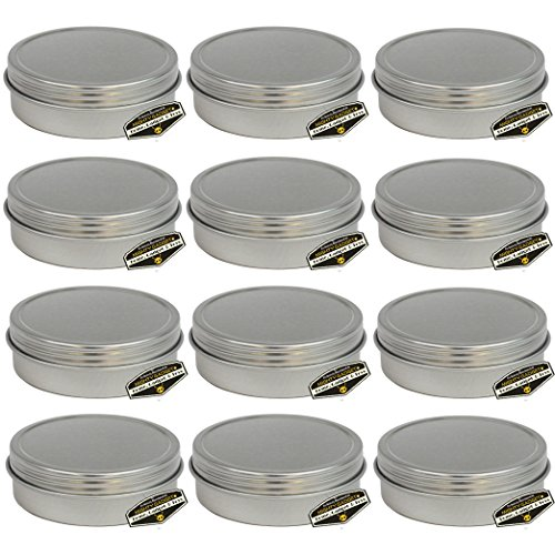 Tin Chaps - Mighty Gadget (R) 1/2 oz Mini Round Tins Screw Lid Container (12 pack)