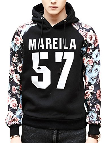 NCAO Men's Fashion Casual Letter Number Floral Print Pullover Hoodies