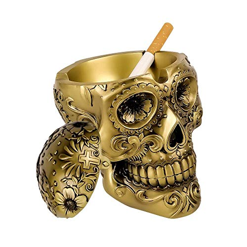 BC BINGO CASTLE Hand-Painted Home Ashtray Human Skull Windproof Ashtray with Cover Cigarette Ashtray for Outdoor Indoor Portable Ash Holder for Home Office Decoration Creative Gift for -