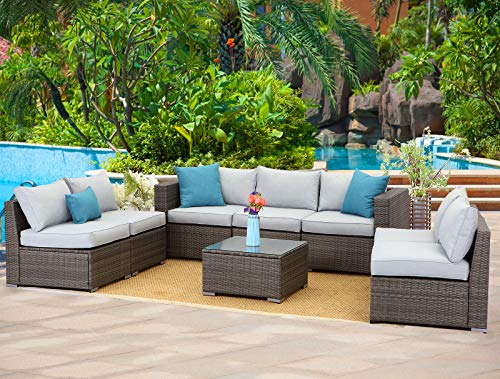 Wisteria Lane Outdoor Furniture Set 8 PCS Wicker Sectional Sofa for Garden Backyard,Modular Couc ...