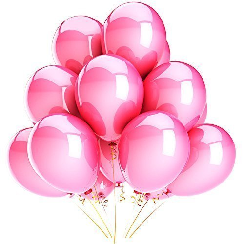 Eshanmu 100 pcs 12 inch Pink Pearl Latex Balloon for Boy Girl Party for Activity Campaign ()