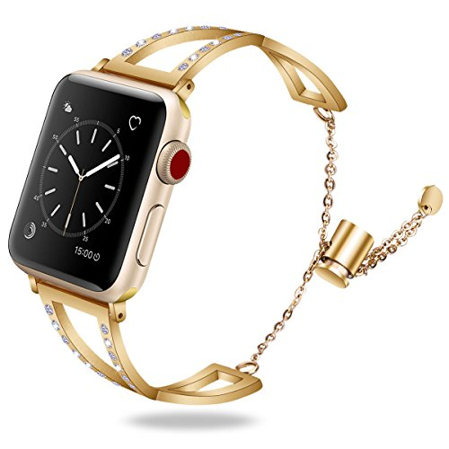 Cuff 3mm (TOROTOP Compatible with Apple Watch Bands 38mm, Classy Stainless Steel Cuff Bracelet Replacement for Apple Jewelry iWatch Bands Strap Wristbands for Apple Watch Series 3,2,1,Sport,Hermes Gold, 38mm)