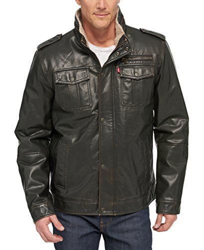 Levi's Men's Vintage Deer Faux Leather Sherpa Military Jacket, Dark Brown, Small