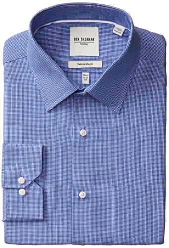 Ben Sherman Men's Slim Fit Checkered Dress Shirt, Royal B...