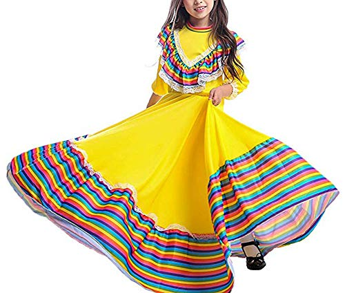 Girl's Traditional Cinco de Mayo Costume Long Dancing Dress Carnival Halloween Party Swingskirt (S(5-7T)) Yellow