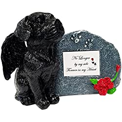 Imprints Plus No Longer by My Side Black Angel Dog Memorial Statue with Tribute Plate and Keepsake Box for Ashes by (2003 blk-gray)
