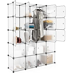 LANGRIA 20 Cubby Shelving Closet System Cube Organizer Plastic Storage Cubes Drawer Unit, DIY Modular Bookcase Cabinet with Translucent Design for Clothes, Shoes, Toys (White)