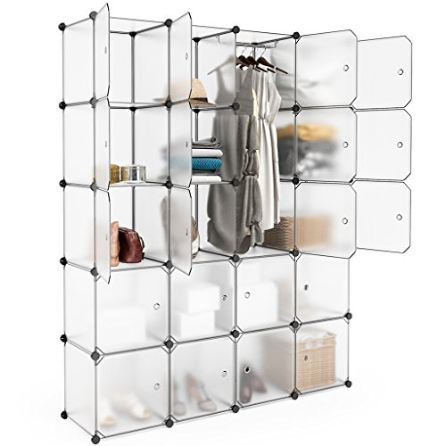 LANGRIA 20 Cubby Shelving Closet System Cube Organizer Plastic Storage Cubes Drawer Unit, DIY Modular Bookcase Cabinet with Translucent Design for Clothes, Shoes, Toys (White) -