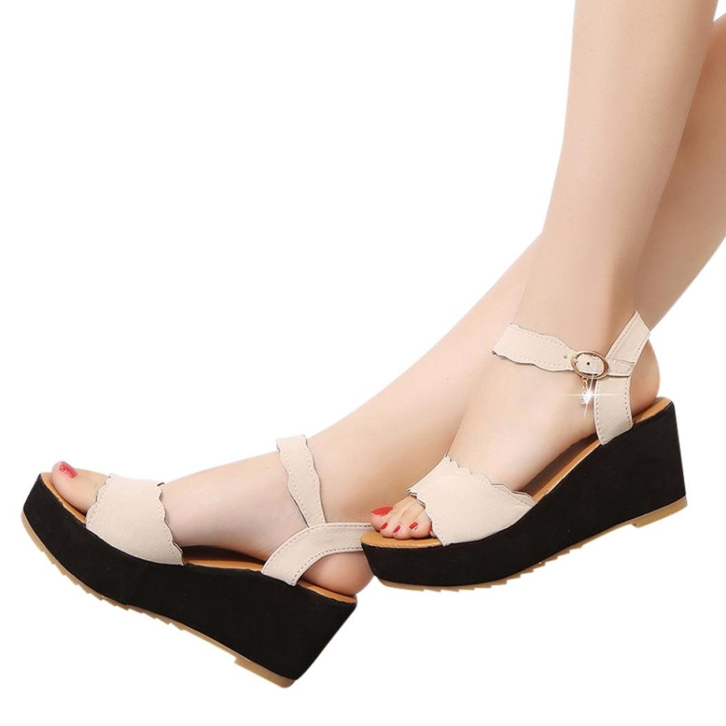 High Heeled Sandals,Fish Mouth Non Slip Buckle Slope Wedges Sandals Summer Shoes Jushye (39, Beige)