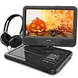 WONNIE 10.1 inch Portable DVD Player CD Player Backpack & Earphone, Swivel Screen Remote Control 5 Hours Rechargeable Battery AC Adapter Car Charger, Mini DVD Player, Support USB/SD Slot (Black)