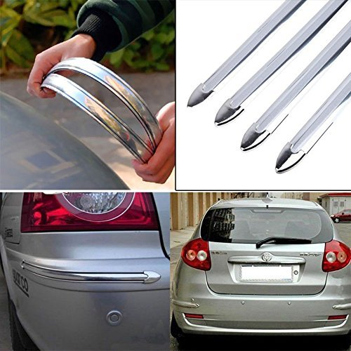 Yosoo 4x Silver Chrome Bumper Corner Guard Protector Car Auto Truck Decoration Strip