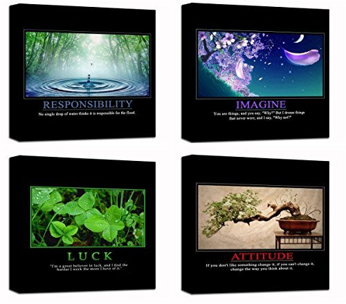 Motivational Inspirational Self Positive Office Canvas Stretched Wood Framed Combine Modern Astract Art For Home Room Hall Wall Print Decor 4Pcs x 12×12″ (30x30cm) (205-208)