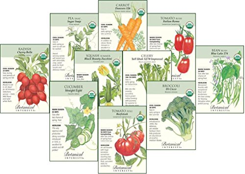 Botanical Interests Organic Veggies Seed Collection - 10 Packets with Gift Box