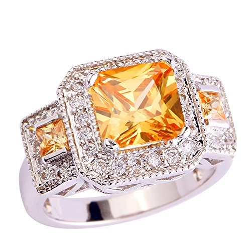Psiroy 925 Sterling Silver Charming Emerald Cut Morganite & White Topaz Cluster Gemstone Filled Ring for Women (Cluster 925 Sterling Silver Ring)