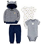 Simple Joys by Carter's Boys' 4-Piece Terry Cardigan Set, Navy Bear, Newborn