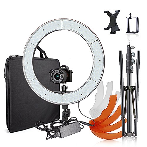 Selens 18 inches/48 cm Outer Dimmable LED Ring Light with Stand, mount for DSLR Camera Smartphone Ipad, Photo Video Lighting Kit for Photography, Self-Portrait Video Shooting, Youtube by Selens