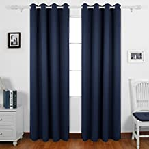 Deconovo Room Darkening Panel Thermal Insulated Blackout Window Curtains For Decoration Navy Blue 55 X 84 Inch 1 Pair