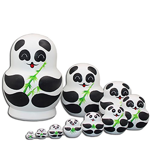 Moonmo Panda Nesting Dolls - 10 pieces Matryoshka Panda - All Hollow To Fit Inside Each Other