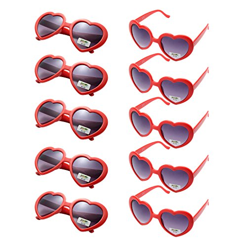 10 Packs Neon Colors Party Favors Heart Sunglasses (red)
