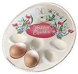 Burton Happy Easter Bunny Rabbit & Spring Egg Plate Tray, Cream & Pink