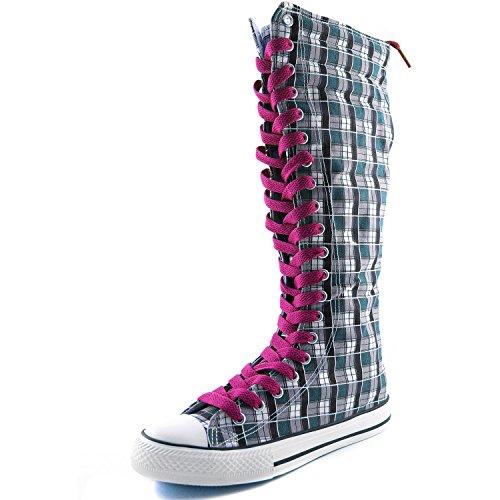 Damestassen Womens Canvas Mid Kalf Lange Laarzen Casual Sneaker Punk Flat, Hot Pink Blue Wht Geruite Laarzen, Hot Pink Lace