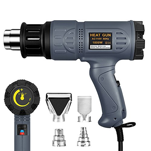 SEEKONE 1800W Heat Gun 122℉~1202℉(50℃- 650℃) Precision Control Temperature by Adjustable Dial with Two Temp-settings, Four Nozzles & Overload Protection for Removing Paint, Bending Pipes, Shrink PVC