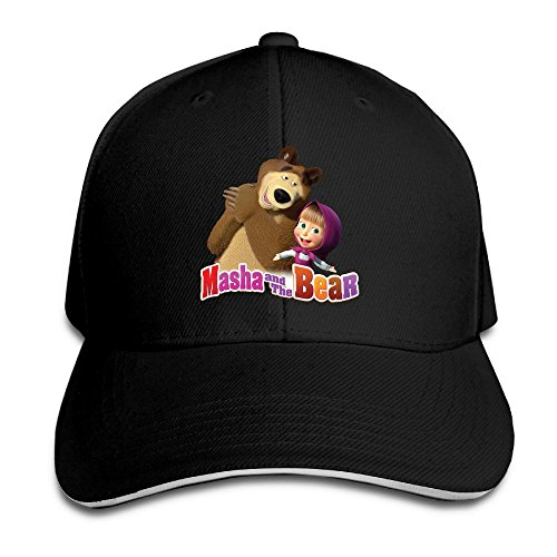 mashas-tales-unisex-100-cotton-adjustable-basaball-cap-black-one-size