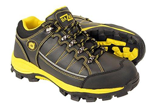 Price comparison product image BAZALT-MPM9120-Mens Black & Yellow Water & Frost Proof Leather Shoe - Black-Yellow / 9