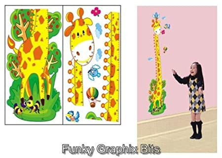 GIRAFFE KIDS GROWTH CHART HEIGHT MEASURE WALL STICKERS CHILDREN ...