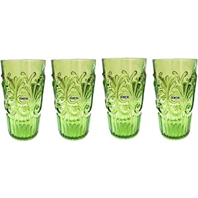 Set of 4 Le Cadeaux Break Resistant Drinkware Highball or Ice Tea Glasses, Pale Green