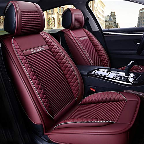 YJF-QCZT Leather Ice Silk Car Seat Cover - Non-Slip Suede-Lined Universal Fit Seat Cushion for Fabric and Leather Car Seats,Red: Kitchen & Home