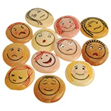 """Yellow Door YD-21 Emotion Stones with Faces Showing Common Emotions, Set of 12, kindergarten Grade to 3 Grade, 5"""" H, 3"""" L, 3"""" W"""