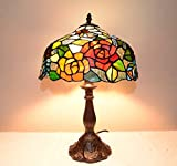 Rose Flowers Stained Glass Tiffany Style Table Desk Lamp, Zinc Base!