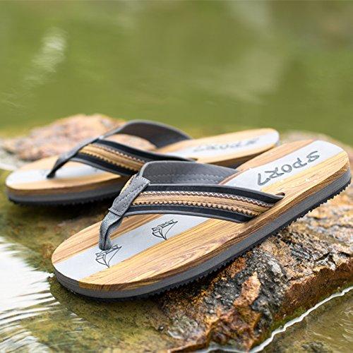 Beach - Pantoffeln, Holz Fischgräten - Flip - Flops, Männern Die Füße Rutschen, Schwarzen Gummi - Sandalen,Brown,Eu43