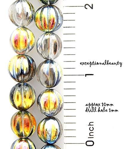 Pendant Jewelry Making 40 Czech Pressed Glass 10mm Fluted Round Melon Bohemian Beads