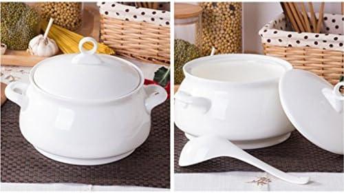 Liuyu Kitchen Home Home Personality Pure White Bone China Soup Pot avec couvercle Soupe Basin Soup Bowl 3250ml