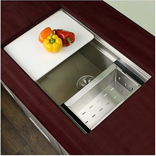 Highpoint Collection 30 Inch 16 Gauge Zero Radius Undermount Stainless  Steel Kitchen Sink With Colander, Cutting Board And Drain     Amazon.com